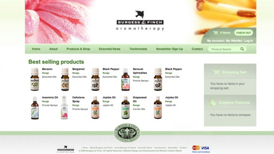 Online Shop - Burgess and Finch Aromatherapy