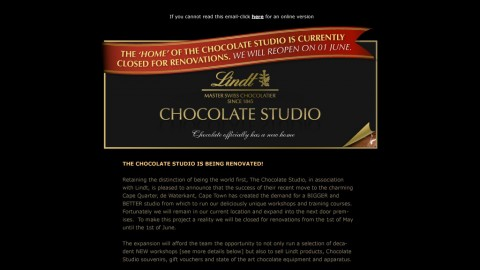 Email Newsletter Design - Lindt Chocolate Studio